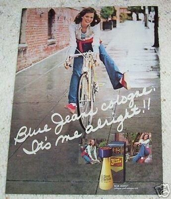 1974 print ad page - Blue Jeans Cologne Shulton CUTE Girl on bike vintage ADVERT