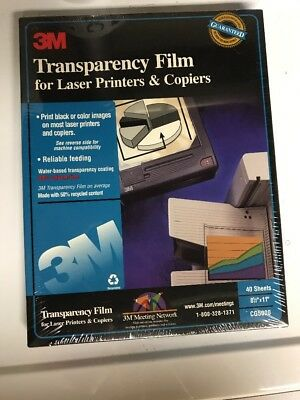 3M Transparency Film for Laser Printers & Copiers CG5000 New Sealed 40 Count