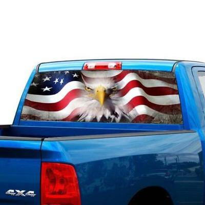 P475 American Flag Army Rear Window Tint Graphic Decal Wrap Back Truck Tailgate