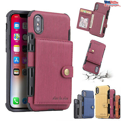 For iPhone X/ XS/ XS MAX/ XR 6 7 8 Plus Leather Case Credit Card Holder Cover