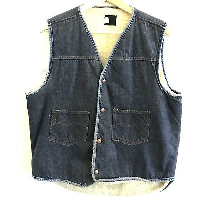 Genuine Sears Roebucks Mens Sz Large Vintage 60s 70s Denim Sherpa Western Vest