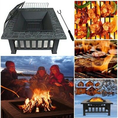 Outdoor Firepit Wood Burning Fire Pit Patio Heater Bowl Garden Fireplace 32 Inch