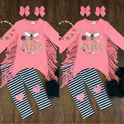 US Toddler Infant Baby Girls Kids Clothes T-Shirt Top Casual Pants Outfits Set