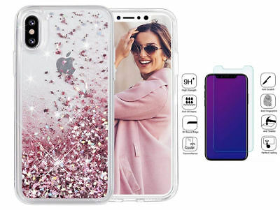Shockproof Bling Glitter Liquid Quicksand Case Cover For iPhone XS MAX 8 Plus X