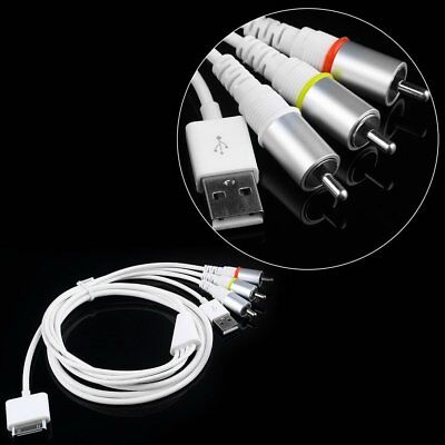AV Composite Video to TV-RCA Cable 3.0USB for Apple iPad 1 iPad 2 iPhone iPod AS