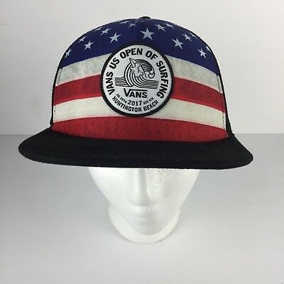 1169b75c79f Vans 2017 US OPEN of SURFING Trucker Hat Stars Stripes USA America Flag HB