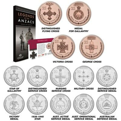 2017 Australian Legends of the ANZACs Medals of Honour 14 Coin Set - in Folder