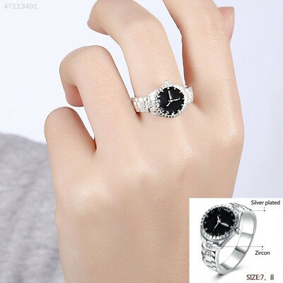 57E3 Creative Women Silver Finger Ring Watch Alloy Personality Jewelry Gift