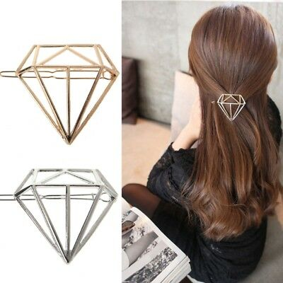 Lady Beautiful Hollow Out Hair Clips Diamond Shape Frog Buckle Hair Pin New