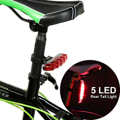 Bicycle Bike  Red Rear Tail Safety Light Cycle 5 LED 4 Mode Clip on Warning Lamp