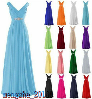 Plus Size Long Chiffon Wedding Bridesmaid Dress Formal Party Ball Prom Gown New