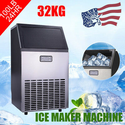 32KG 100Lbs Commerci Ice Cube Maker Stainless Steel Machine Undercounter Freezer