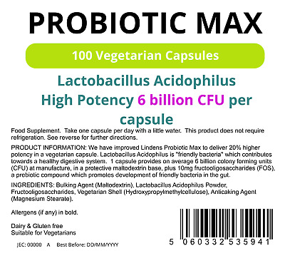 Probiotic Max (100 pack) (Acidophilus + FOS) with Prebiotic