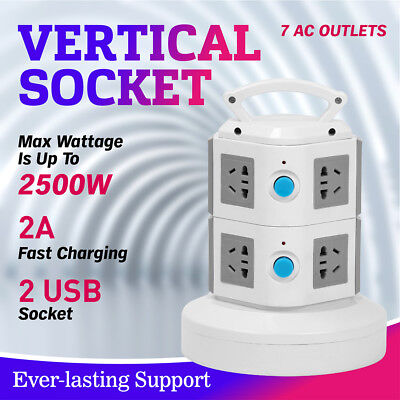 7 Ways Vertical Power Socket Surge Protector Power Board Outlets Socket 2 USB