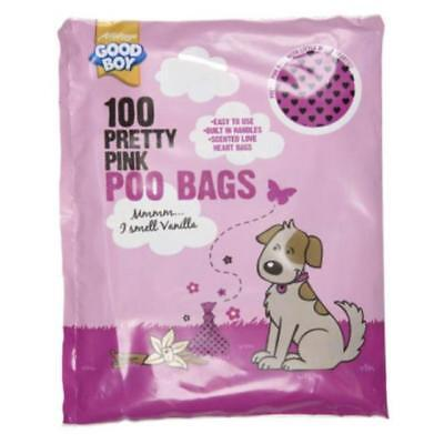 Good Boy Pretty Pink Dog Poo Bags - 5 X Pack of 100 = 500 BAGS - BARGAIN SAVE ££