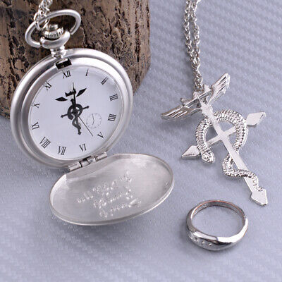 Fullmetal Metal Alchemist Cosplay Pocket Watch + Necklace + Ring Set Cosplay