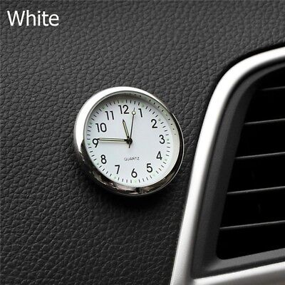 Luminous Car Dashboard Air Vent Stick-On Time Clock Quartz Analog Watch White TW