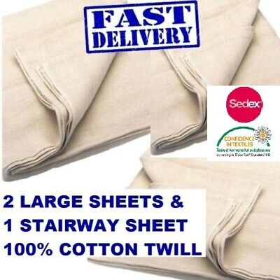 3  Pack 100% Cotton Twill Dust Sheet Includes Staircase Dust Sheet 10/8