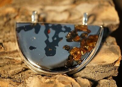 Real Meteorite Seymchan Pallasite silver large pendant Gift from Space