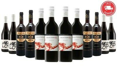 Over100 Sold! $89 Delivered Red Wine Merlot Mixed 12x750ml Free Shipping RRP$319