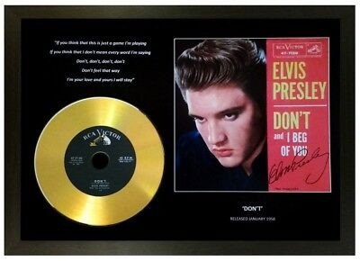 Elvis Presley 'don't' Signed Photo With Gold Disc Memorabilia Collectable Gift