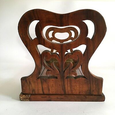 Beautiful Victorian Antique Rosewood Book Slide Folding Fretwork Ends