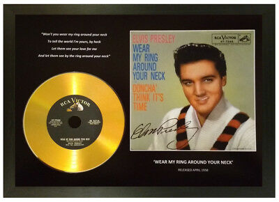 Elvis Presley 'Wear My Ring Around Your Neck' Signed Photo With Gold Disc Gift