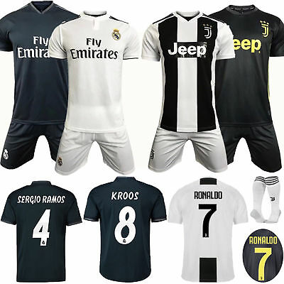 18-19 New Kids Soccer Club Kit 3-12 Yrs Short Sleeve Training Jersey Suit+Socks