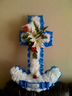 Artificial Silk Funeral Flower Anchor Tribute Navy Military Wreath Memorial