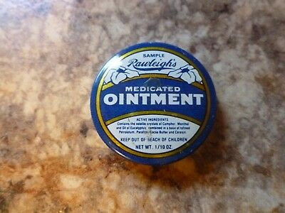 Vintage Rawleigh's Medicated Ointment SAMPLE 1/10 Oz Tin Antiseptic Advertising