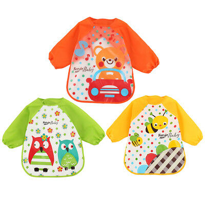 3x Long Sleeve Kids Baby Bibs Bib Apron Waterproof Art Smock Feeding Toddler
