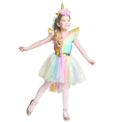 Unique Girls' Deluxe Rainbow Unicorn Costume Christmas Everyday Cosplay Dress-Up