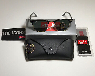 New Ray-Ban RB3016 Clubmaster Sunglasses  W0365 G-15 Lens 51mm Black Gold Frame