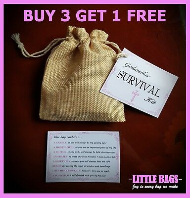Godmother Survival Kit Keepsake Thank You Novelty Gift Christening Godparents