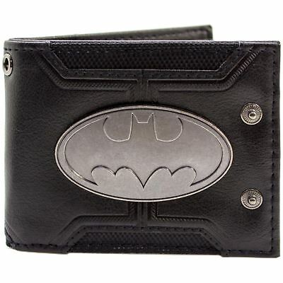 Official Dc Batman Badge Double Buttoned Black Id & Card Wallet *SECOND*