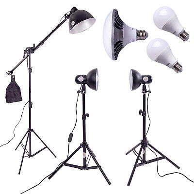 3 x LED Photography Studio Lighting Kit | 25w & 50w Daylight Bulbs | Boom Arm