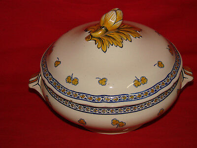Antique French - K & G Luneville - Old Ceramic Soup Tureen - Rouen Model
