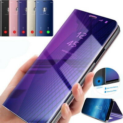 For Samsung Galaxy Note 9 S8 S9 Plus S7 Clear Mirror Flip Stand Phone Case Cover