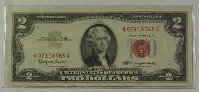 Series of 1963 Two Dollar $2 Bill  *Red Seal* United States Currency VG-VF