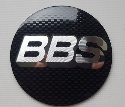 BBS Alloy Wheel Centre Cap Badge 65mm Black & Chrome  - X4 - High Quality Badges