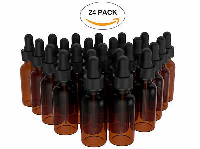 Essential Oil Amber Boston Refillable Bottles with Glass Dropper 15ml Pack of 24