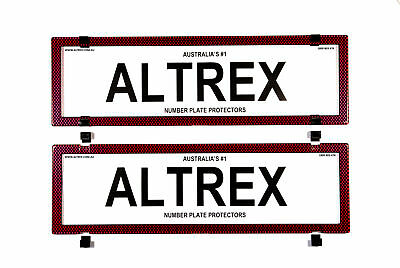 Altrex Number Plate Cover 6 Figure Red Carbon Fibre Without Lines Dual Slimline