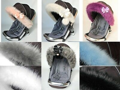 Pram Pushchair Buggy Hood fur trim Universal fit
