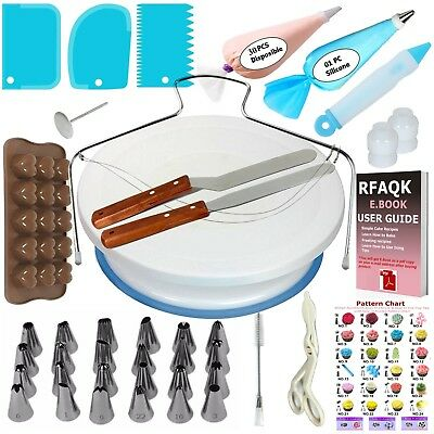"Cake Decorating Turntable 11""-24 Icing nozzles-Mould-Pen-Spatula-Bags-Tools Set"