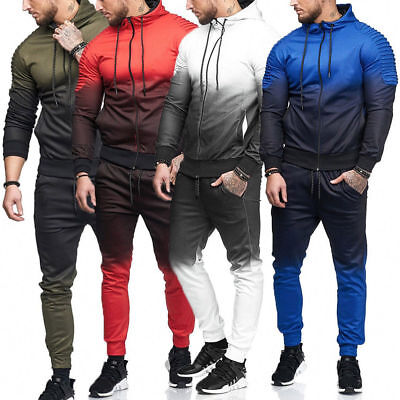 Men's Sports Tracksuit Gradient Hooded Coat + Pants Trousers Outfits Activewear
