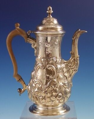"""Early English Sterling Silver Coffee Pot w/Repoussed Flowers 9 3/4"""" Tall (#2844)"""