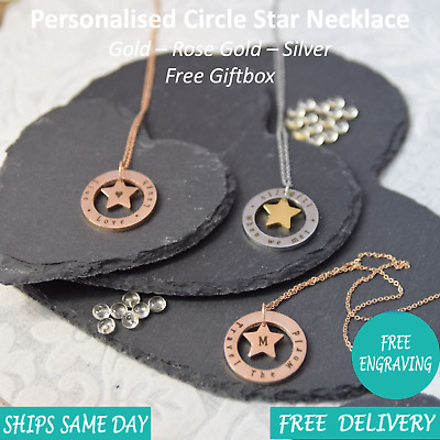Personalised Engraved Womens Name Jewellery Necklace Rose Gold Silver Giftbox