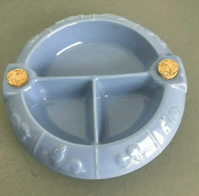 Vintage Divided Child's Baby Hot Water Warming Dish Bowl Blue Ceramic Animals