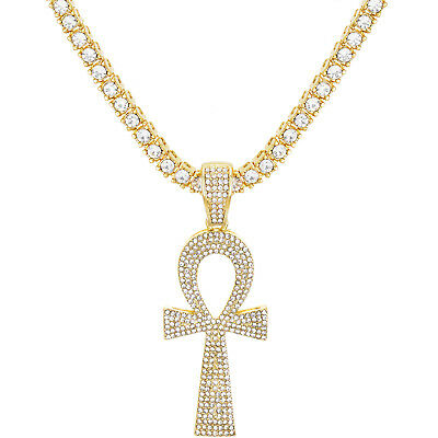 Men's Iced Gold / Silver Tone Ankh Cross Pendant Tennis Chain Necklace TMP 710