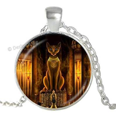 Ancient Egyptian Cat Goddess Statue Silver Pendant Necklace Egypt Lord Jewellery
